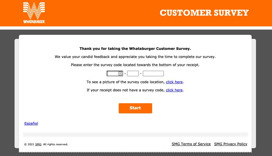 WhataburgerVisit survey page