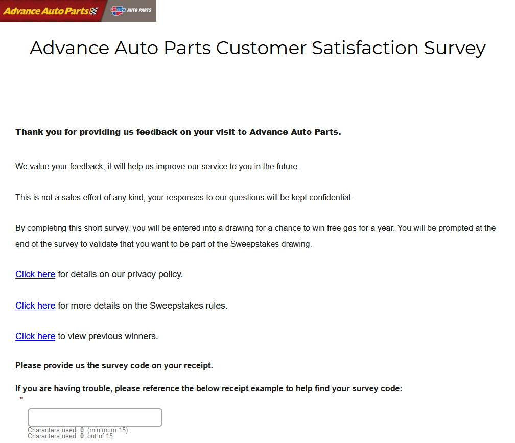 dvance Auto Parts Customer Satisfaction Survey